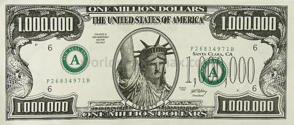 A photo of a gag one million dollar bill